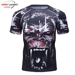 Wholesale Fitness Professional Shirts - Fitness men's professional compression shirt MMA Rashguard skin base short-sleeved T-shirt Crossfit Jiu Jitsu 2017 new