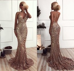 Wholesale Black Modelling - Mermaid Rose Gold Sequins Prom Dresses 2018 African Luxury V Neck Sweep Train Backless Prom Dresses Evening Wear