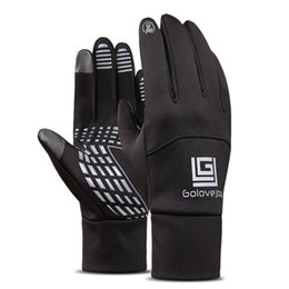 Wholesale Thermal Cycle Gloves - Gloves for Touch Screen Thickened Fleece Lined Windproof Anti-skid Thermal Leather Gloves for Cycling Skiing or Ridind
