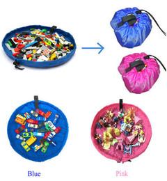 Wholesale bag rugs - Toy Storage Bag Kids Portable Toy Organizer Storage Bag Drawstring Play Mat For Rug Box 45cm BBA80