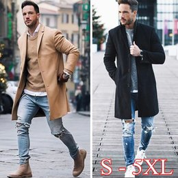 Wholesale Blue Pea - Men fashion winter casual British Single Breasted Wool Blend Slim Long Pea Coat Jacket