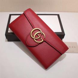 Высокое качество роскошные знаменитости дизайн письмо металлическая пряжка два раза бумажник карты пакет реального воловьей кожи мужчина женщина 400586 длинный кошелек сцепления от