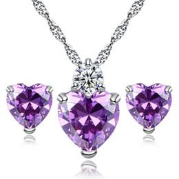 Wholesale Elegant Fashion Jewellery - SHUANGR Elegant Cubic Zircon Wedding Jewelry Sets Women Fashion Cheap Jewellery Love Heart Pendant Necklace Crystal Earring