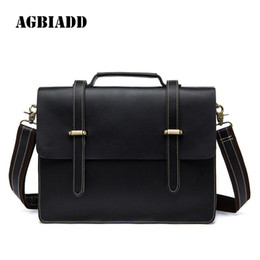 08215993596c AGBIADD Business Solid Mens Leather Briefcase Bag Portfolio Men Office  Pasta Executiva Masculino Handbag Men Messenger Bags 521