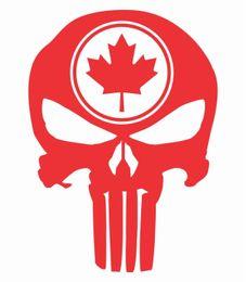 Car Styling per Tall Punisher Skull Maple Leaf Vinyl Decal Sticker Camion bandiera canadese cheap maple leaf sticker da autoadesivo foglia d'acero fornitori
