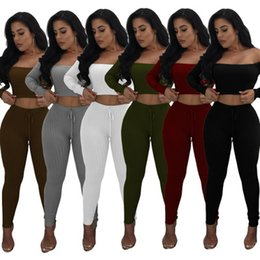 Wholesale Fashion Trousers For Women - Women Tracksuit Long Sleeves High Elastic Thread Trousers With Skinny Pants Two Piece Set 6 color Fit For Night Shop