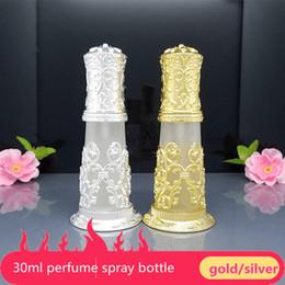 Wholesale vintage silver perfume bottle - 1pcs Makeup Gift 30ml glass spray bottle High quality Beautiful Silver Color Arabic design perfume bottle,Empty Vintage Mist Spray Bottles