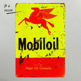 """Wholesale Crafts Holidays - Vintage Metal Tin signs """"Mobiloil"""" Garage Craft Wall Painting,Home Decor, Man Cave"""