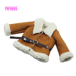 """Wholesale Woolen For Baby Girl - Fashion Brown Dolls Clothes Woolen coat + Belt for 18"""" 45CM American Girl Doll Coat as for 43cm baby born zapf dolls Clothes"""