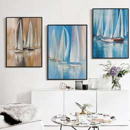 Wholesale Painting Home Images - Bianche Wall Coastal Sailboat Modern Oil Painting Canvas Art Painting Landscape Poster Print Image Wall Living Room Home Decor