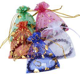 Марлевые мешочки онлайн-200PCS7x9 / 9x12cm Mix Color Gauze Bag Organza Складные сумки Drawstring Мешки Конфеты Сумки Упаковка Сумки для хранения на Рождество Xmas Festival