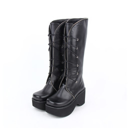 bab7260fee9 Lolita Russian Boots Black Shoes Lace Winter Wedge Heels Lace-Up Leather Boots  Sexy Women Punk Thick Bottom Platform