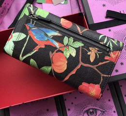 Wholesale tri fold purse - Top quality brand designer wallets Men And Women Genuine Leather Printing Brid wallets luxury Long purse Tri-fold style with box #409941
