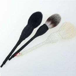 goat hair face brushes Promo Codes - Kabuki Flat Contour Blusher Foundation Eye Shadow Face Makeup Brush Nature Goat Hair Cosmetic For Beauty Make up