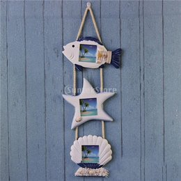 Wholesale Framed Fish Pictures - PHOTO PICTURE WALL HANGING FRAME DISPLAY Seashell Fish Star Nautical Board