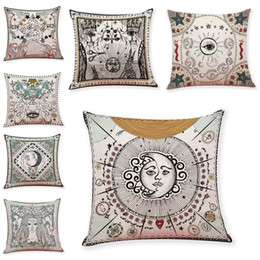 Wholesale blue pattern cushion - Abstract Sun Pattern Linen Cushion Covers Home Office Sofa Square Pillow Case Decorative Pillow Covers Without Insert (18*18Inch)