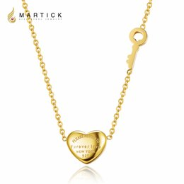 Wholesale Key Shaped Jewelry - Martick 316L Stainless Steel Gold-color Heart Shape Pendant Forever Love Key Link Chain Necklace Fashion Jewelry For Women P3