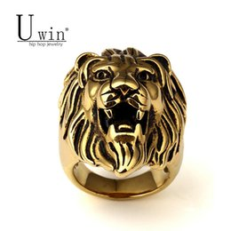 golden rings Promo Codes - Men Stainless steel Ring Hip hop Punk Style Vintage Golden Color Black Oil Lion Head Rings Jewelry Size 7-15