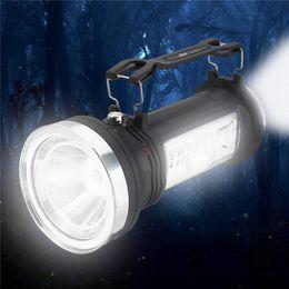 Torcia elettrica del faro online-Torcia solare a LED Lanterna portatile USB ricaricabile Lampada da campeggio Super Bright 3 modalità Lampada esterna di emergenza