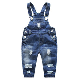Wholesale Boys Bib Overalls - Children clothing Kids Denim overalls Abrasion Washed cotton Casual bib pants Buttons Boys girl pant 2018 Spring Autmn Summer