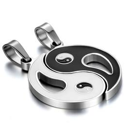 Wholesale Ba Silver - whole saleBONISKISS Stainless Steel Chinese Mystical Yin Yang Tai Chi Ba Gua Matching Pendant Gold Silver Black With Chian(Pair)