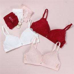 New Fashion Women Pink Red Sexy Lingerie Lace Cut Out Bralette Plus Size  Panties Push Up Wireless Comfortable Bra Sets 591228162