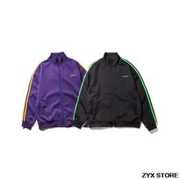 Wholesale Vintage Tracksuits Women - 2017 Xieruis Women Men Tracksuit Jackets Letter Embroider Vintage Color Block Stripe Track Jackets Coats Turtleneck