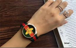 Wholesale Cheap Dress Watches - Hot Sale New Fashion Retro Nylon Quartz Watch Women Dress RED BEE Bracelet Watches Cheap Wholesale Relogio Feminino Relojes Muje