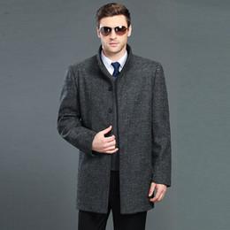 Мужская куртка из черной шерсти онлайн-Новая мода Мандарин воротник серый черный пальто мужчины зима Мужские пальто бизнес шерсть пальто мужской зимняя куртка плюс размер верхняя одежда