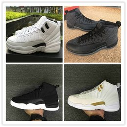 Wholesale Wing Flats - 2017 Original Retro 12 Mens basketball shoes retro XII 12s WINGS in BLACK METALLIC GOLD-WHITE in top quality with free shipping size 40-47