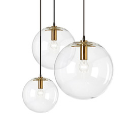 Wholesale Circular Light Chandelier - Designer Glass Chandelier Lights 15cm 20cm 25cm 30cm Circular Glass Lampshade Loft Pendant Lamps Modern E27 110V Lighting Fixture