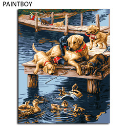 Wholesale Canvas Dog Art - Dogs Painting Framed Pictures Painting By Numbers DIY Digital Canvas Oil Home Decor Wall Art GX7092 40*50cm