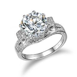 2019 impostazioni del diamante rotondo Incredibile lusso 3ct SONA sintetico diamante anello di fidanzamento gioielli in argento massiccio 18 carati placcato oro bianco anello grande formato personalizzato