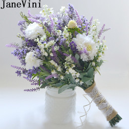 Deutschland JaneVini Lavendel Lila Künstlicher Hochzeitsstrauß Für Bräute 2018 Künstliche Weiße Blumen Brautsträuße Hanfseil Ramillete Novio Versorgung