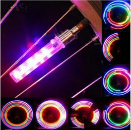 Interruptores de luz de bicicleta online-Válvula de destello del encendedor de la rueda de la bici del LED con el interruptor Firefly Colorido Lámpara de luz de destello del LED para la motocicleta de la bici Luz AAA527 del inyector de aire