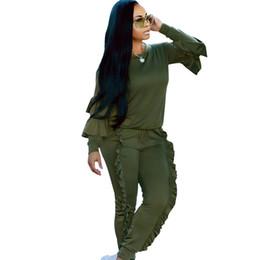 terno de lazer amarelo Desconto 2018 outono casual o pescoço 2 two Piece Set Womens Amarelo verde Pullover Hoodies E Terno de Lazer senhoras Fatos de Treino de Lazer plus size