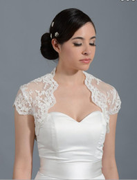 Wholesale white short dress bolero - Cheap Bridal Wraps Ivory Cap Sleeve Lace Wedding Bridal Bolero For Wedding Dresses Lace Applique Jacket