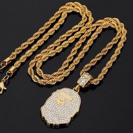 grüne pfaufedern großhandel Rabatt APE KOPF HALSKETTE Mens Gold Halskette mit Diamant Fashion Street Ketten Hip Hop Halskette Rock Zubehör 2018 neueste