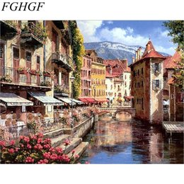 Wholesale hand painted scenery oil painting - FGHGF Waterside Town DIY Painting By Numbers Picture Wall Art Hand Painted Oil Painting Scenery Home Decoration 40x50cm