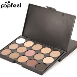makeup for blue green eyes UK - Popfeel 15 Color Eyebrow Shadows Eye Shadow Powder Palette