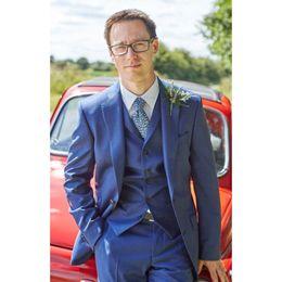 Wholesale custome made suits - Custom Made Notch Lapel Two Buttons Bule Men Suits Custome Homme Fashion Tuxedos Terno Slim Fit Blazer Suit(Jacket+Pants+Vest) B982