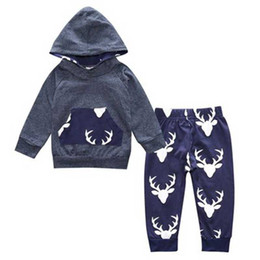 Wholesale Deer Baby Coat - 2018 autumn Baby boys clothes cotton long sleeve Deer hooded coat +pants kids 2pcs clothes baby suit infant clothing sets