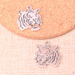 2019 tiger kopf antiken anhänger 27pcs Antique Silber brüllenden Tiger Kopf Charms Anhänger Fit Armbänder Halskette DIY Metall Schmuck machen 27 * 24mm günstig tiger kopf antiken anhänger