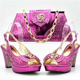 Wholesale Nice Hotel - Rhinestone nice African shoe and bag set for party Italian shoe with matching bag new design ladies matching shoe and bag