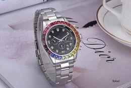 Звон часов онлайн-Diamond watch master watch 40 мм ReloJo радужное кольцо с автоматическим датированием роскошные модные мужские и спортивные полосы кварцевые часы мужские часы