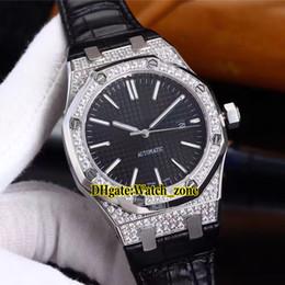 41mm Real 15400 Preto Textura Dial Asian 2813 Mens Automático Assista Data Diamante Bisel Pulseira De Couro De Vidro Sapphire Gents Novos Relógios de