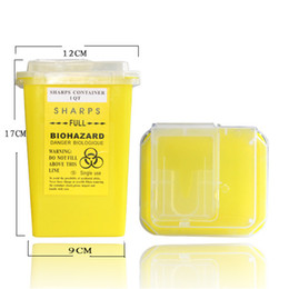 Wholesale Sharps Tattoo - 1L Yellow Tattoo Sharps Container Plastic Biohazard Needle Disposal Sharps Containers For Tattoo Artists Free Shipping TA-237-2