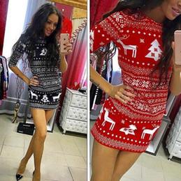 Ropa para la fiesta de navidad casual online-2 colores vestidos casuales falda de navidad de manga larga vestido de ciervo costura costura moda ropa de mujer vestidos de fiesta CCA10654 20pcs