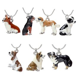 Wholesale Wholesale Pets Drop Shipping - 2018 Enamel Dog Necklace Cute Best Friends Pet Dog Pendants Fashion Jewelry for Women Kids Christmas Gift drop Shipping 162497