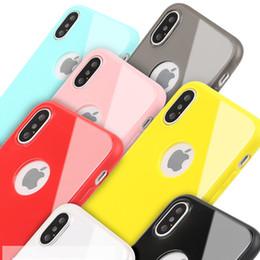 Wholesale Iphone 5s Transparent Color Cases - Non Slip Candy Color Imitation Glass Gloss Soft TPU Slim Case For iPhone X iPhone 8 8 plus 7 6s 6 plus 5S Samsung Note 8 S8 S7 Edge J7 Plus